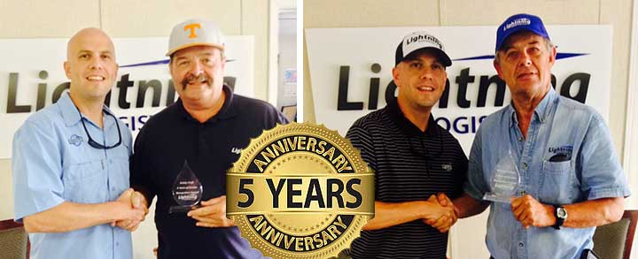 Congrats to Mr. Robert Craft & Mr. Michael Carlson on their 5 Year Anniversary with Lightning Logistics!